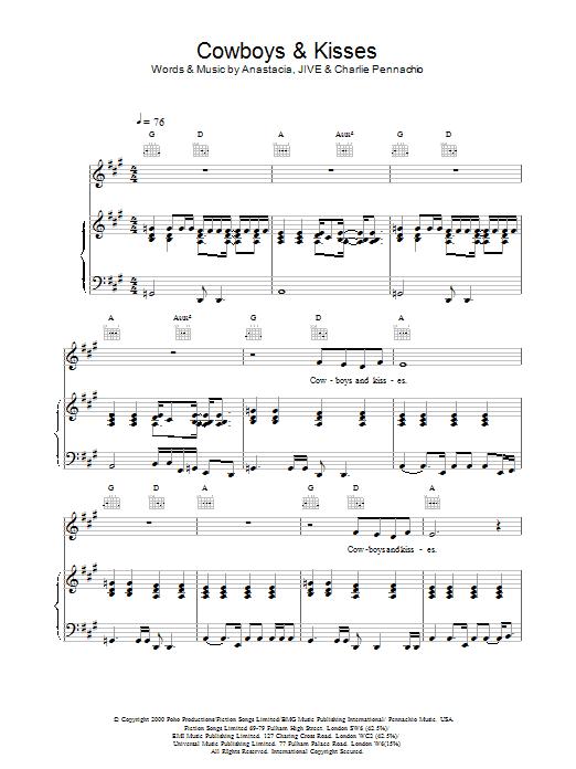 Cowboys & Kisses sheet music