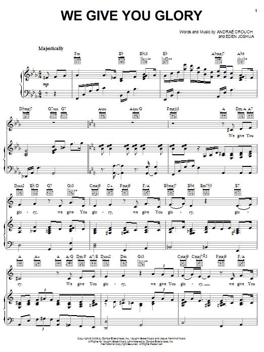 We Give You Glory sheet music