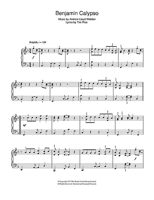 Benjamin Calypso (from Joseph And The Amazing Technicolor Dreamcoat) sheet music