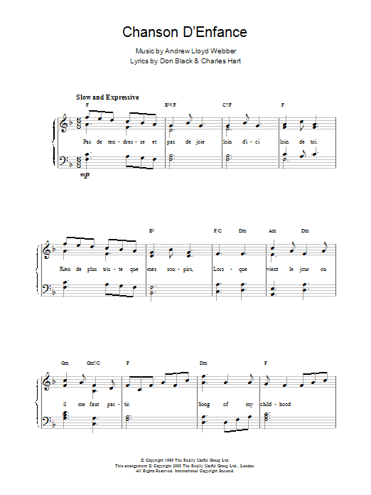 Chanson D'Enfance sheet music