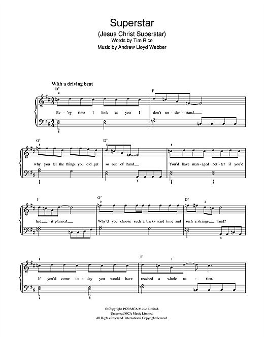 Andrew Lloyd Webber 'Jesus Christ, Superstar' Sheet Music Notes, Chords   Download Printable Piano Chords/Lyrics - SKU: 357744