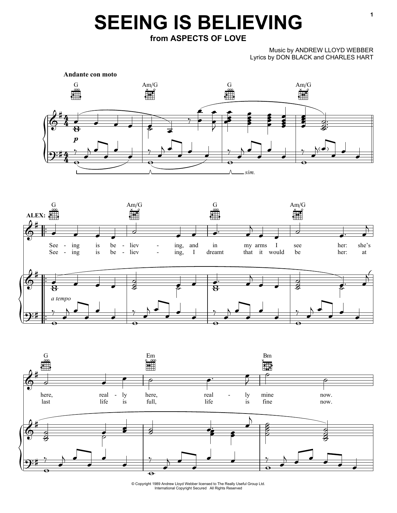 Seeing Is Believing (from Aspects of Love) sheet music