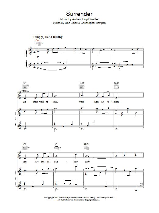 Surrender (from Sunset Boulevard) sheet music