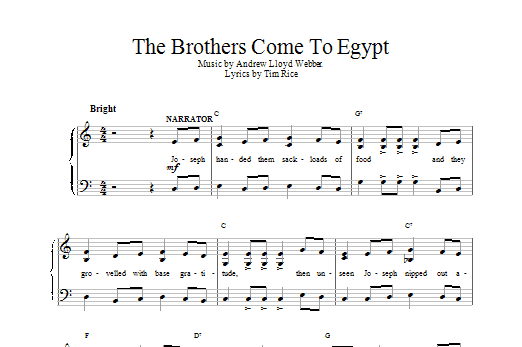 The Brothers Come To Egypt sheet music