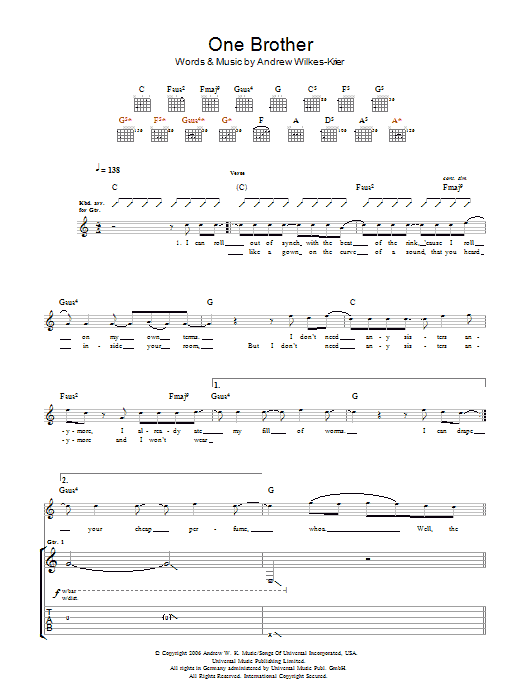 One Brother sheet music