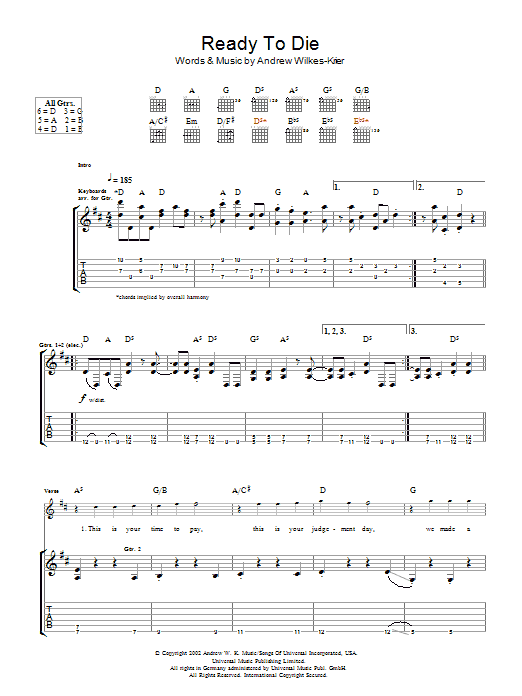 Ready To Die sheet music