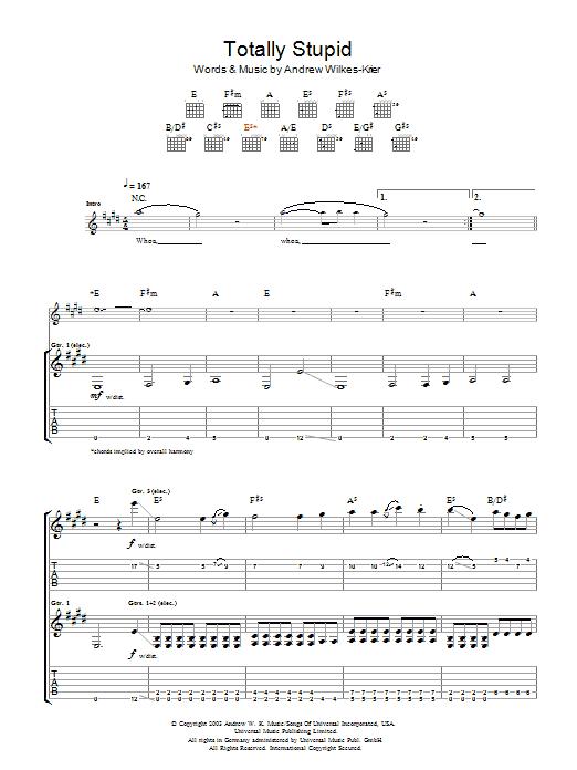 Totally Stupid sheet music