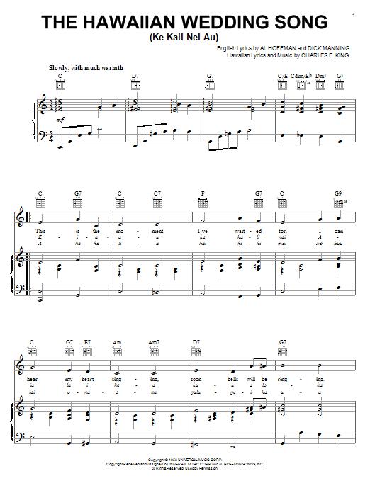 The Hawaiian Wedding Song (Ke Kali Nei Au) sheet music