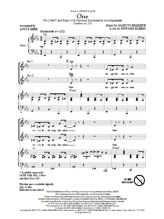 One (from A Chorus Line) sheet music
