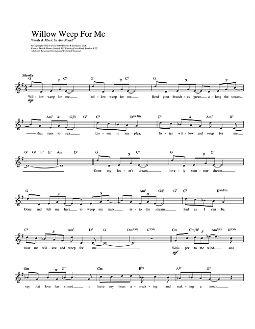 Willow Weep For Me sheet music
