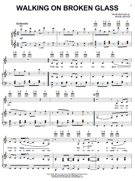 Walking On Broken Glass sheet music