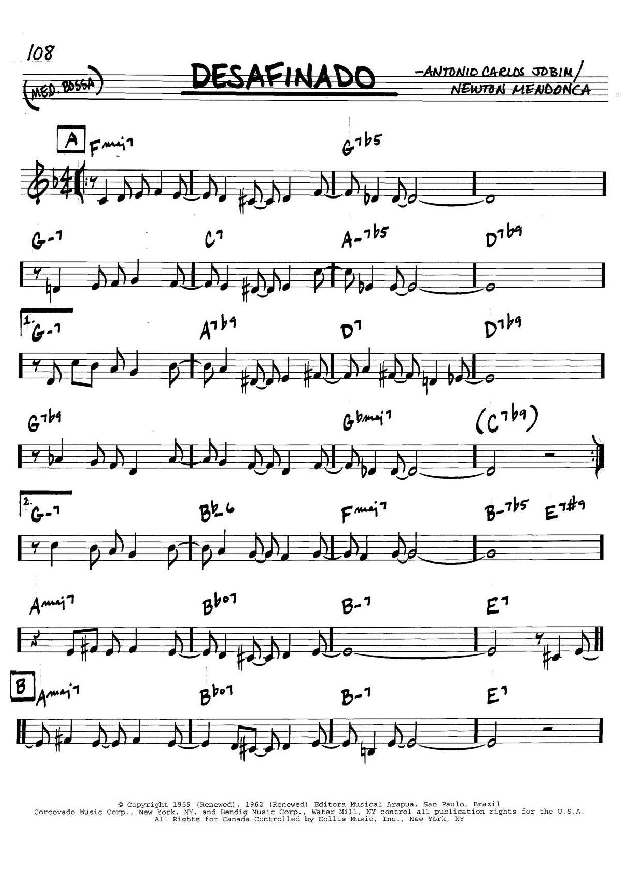 Desafinado sheet music