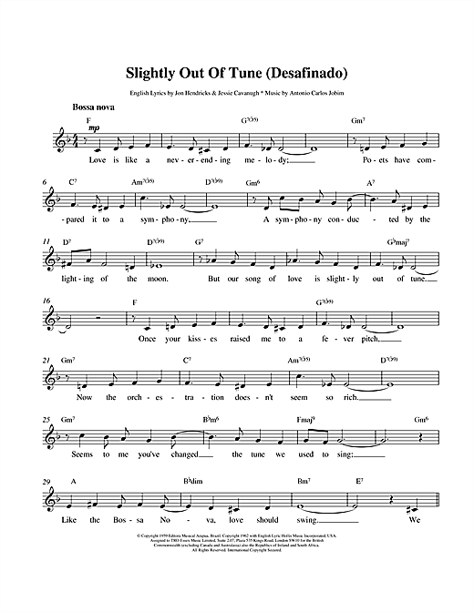 Desafinado (Slightly Out Of Tune) sheet music