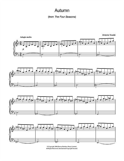 Autumn (from The Four Seasons) sheet music