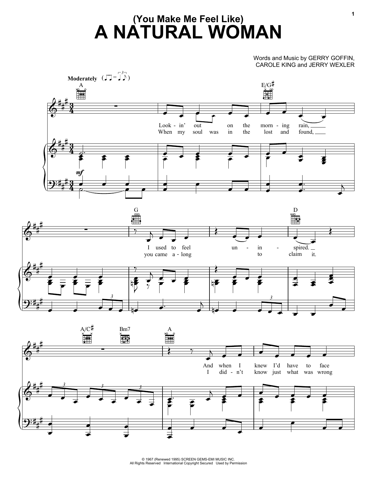 (You Make Me Feel Like) A Natural Woman sheet music