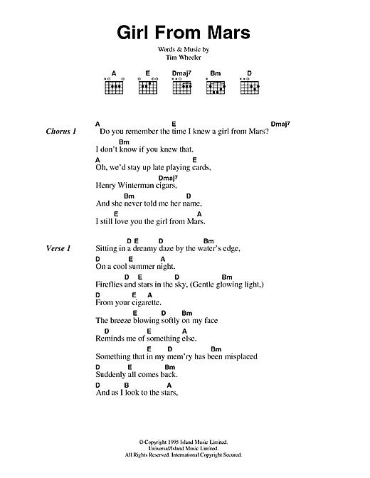Girl From Mars sheet music