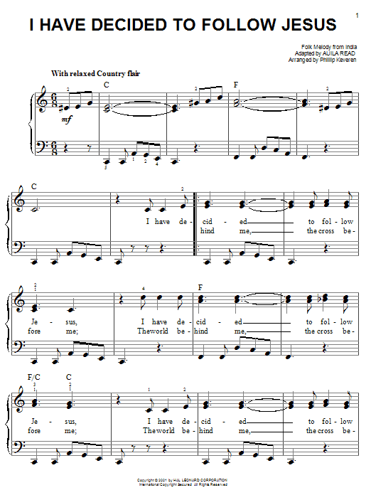 I Have Decided To Follow Jesus sheet music
