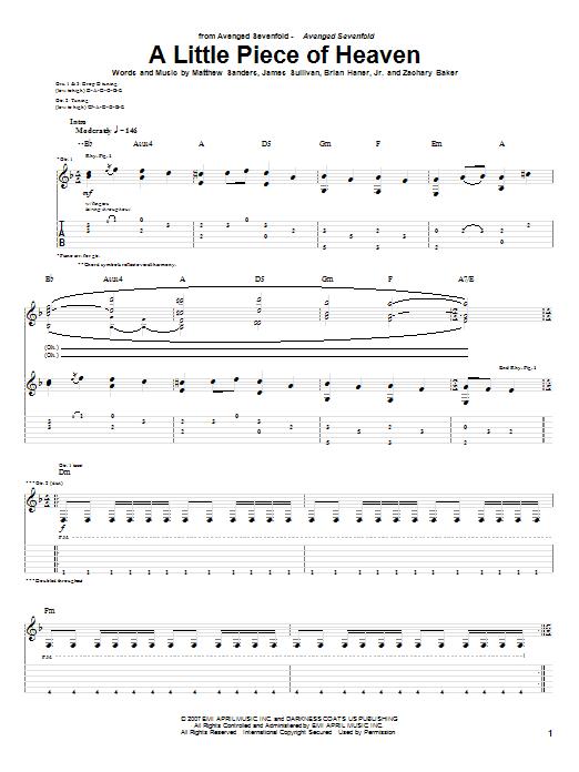 A Little Piece Of Heaven sheet music