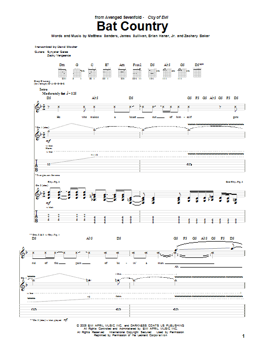 Bat Country sheet music