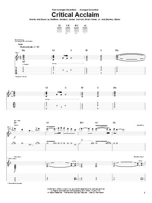 Critical Acclaim sheet music