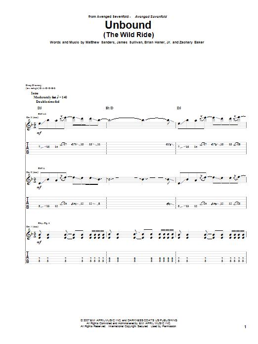 Unbound (The Wild Ride) sheet music