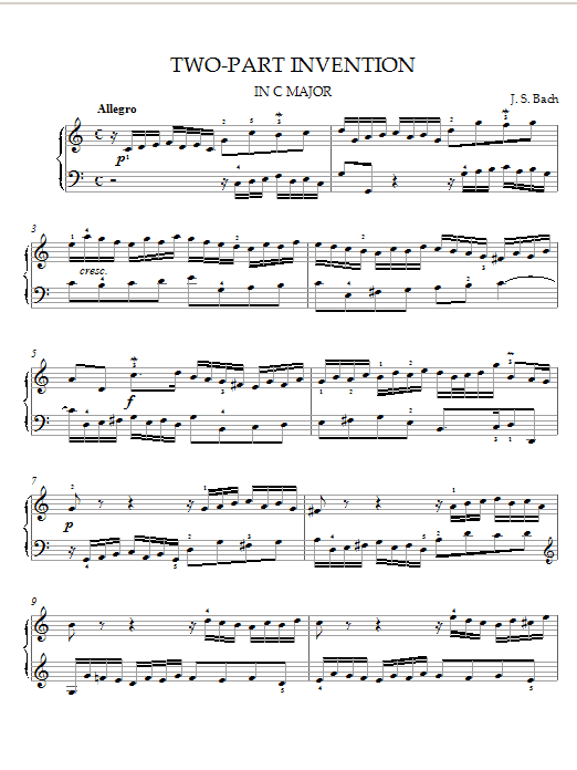 Two-Part Invention in C Major sheet music