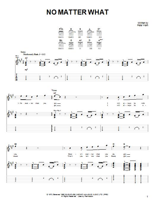 No Matter What sheet music