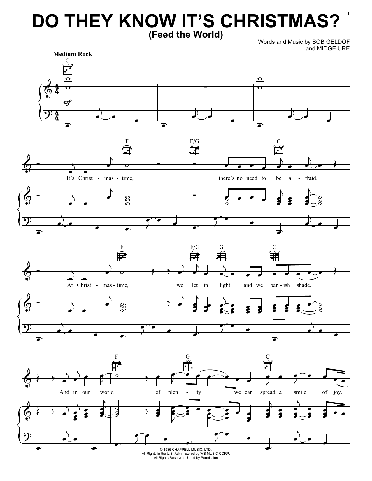 Do They Know It's Christmas? sheet music