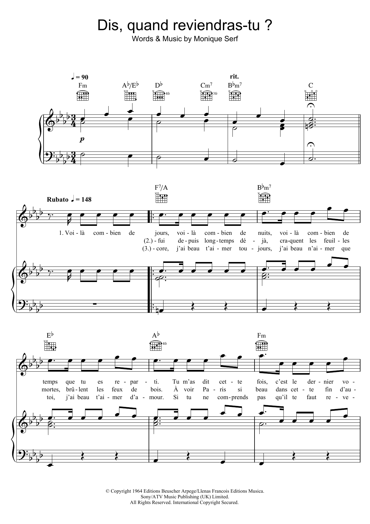 Dis, Quand Reviendras Tu ? sheet music