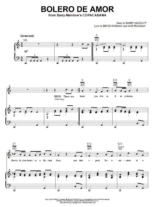 Bolero De Amor sheet music
