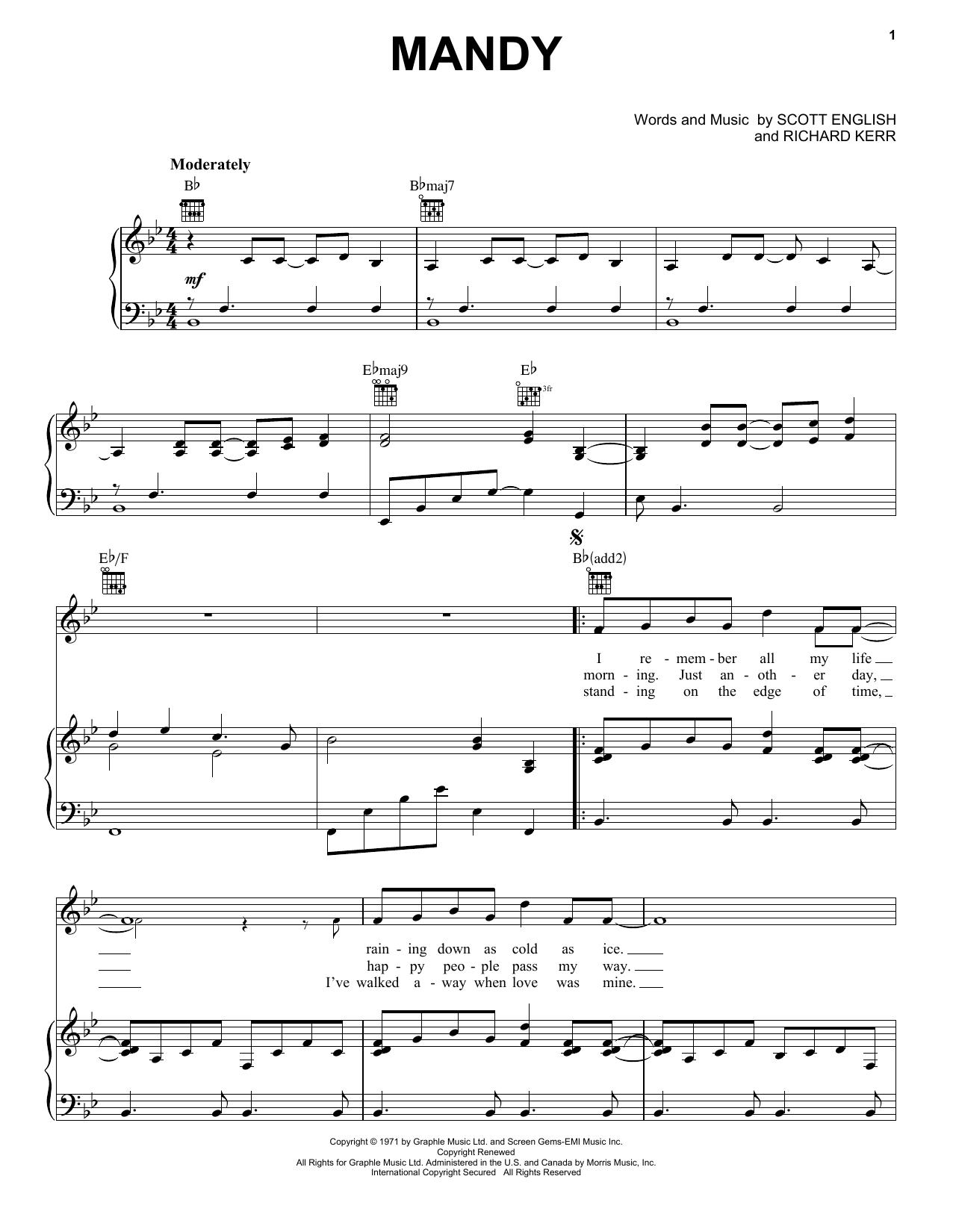 Mandy sheet music