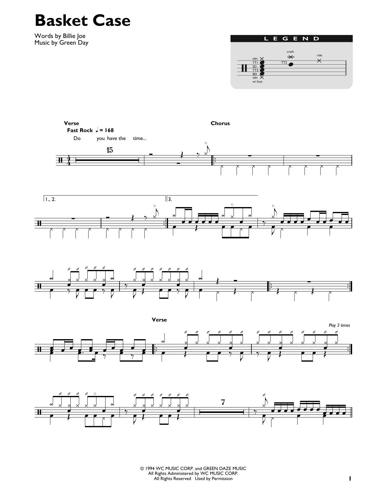 Green Day 'Basket Case' Sheet Music Notes, Chords   Download Printable Easy  Guitar Tab   SKU 15