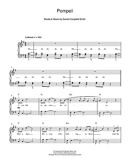 Bastille Pompeii Sheet Music Download Pdf Score 119453