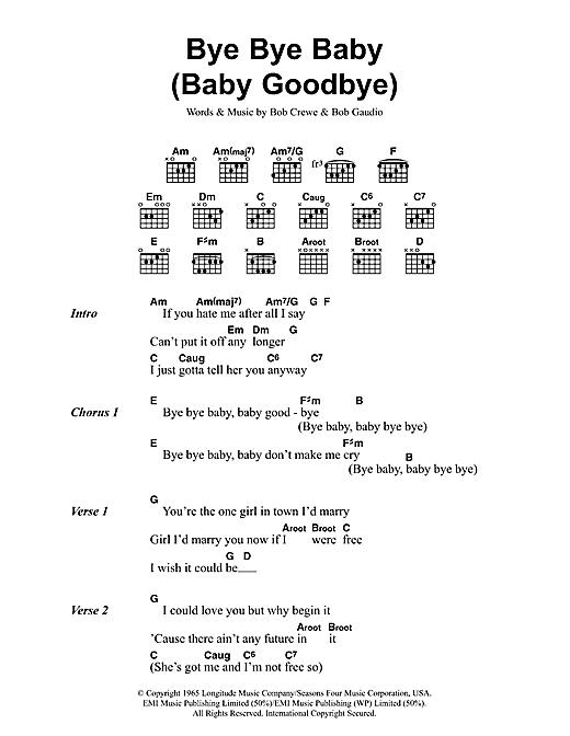 Bye Bye Baby (Baby Goodbye) sheet music