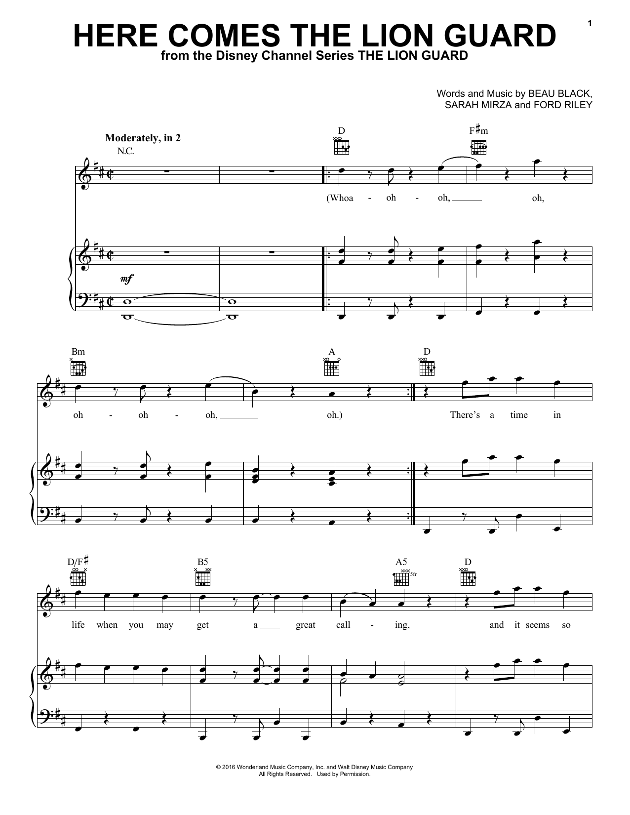 Here Comes The Lion Guard sheet music