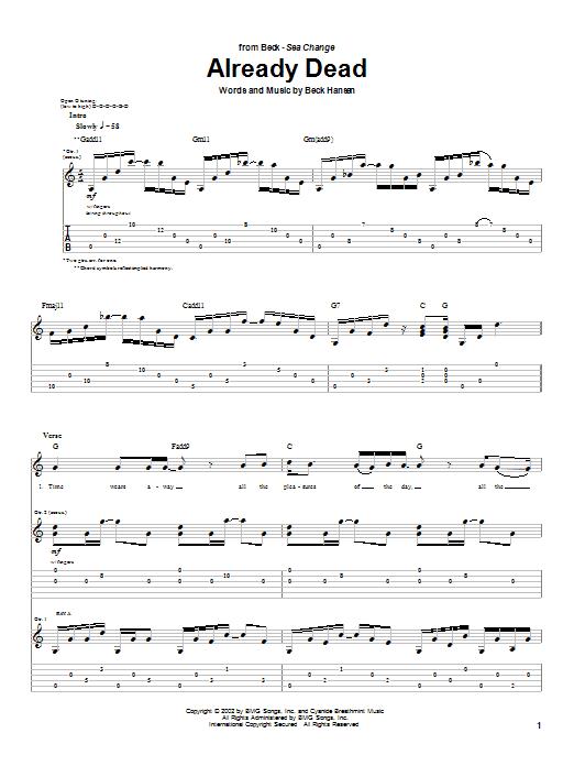 Already Dead sheet music
