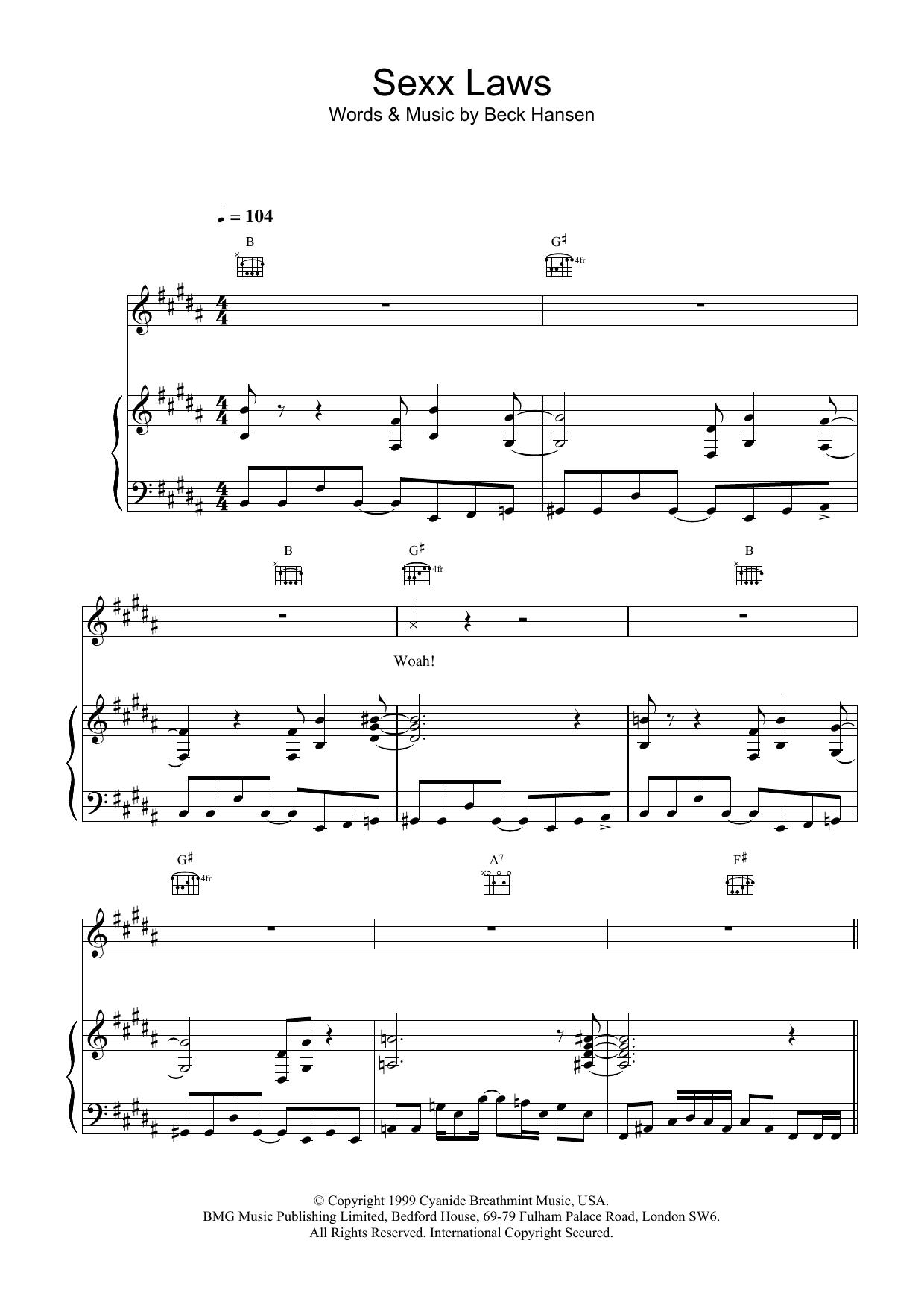Sexx laws sheet music