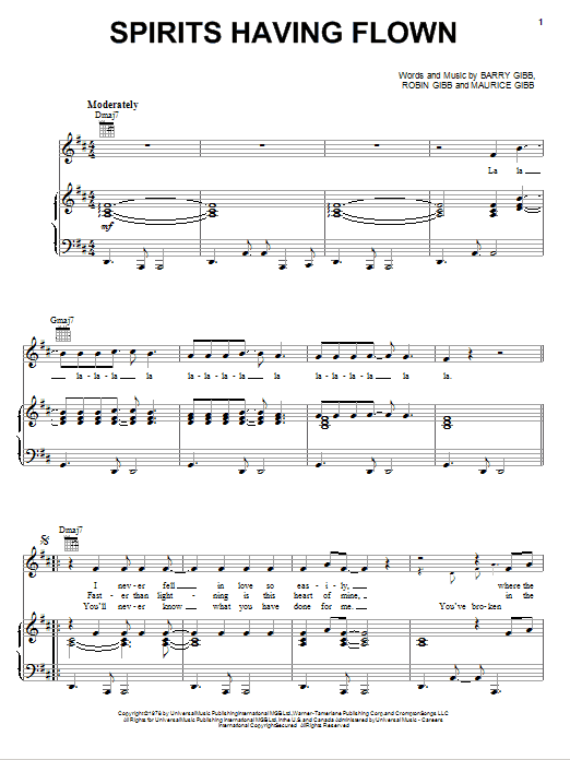 Spirits Having Flown sheet music