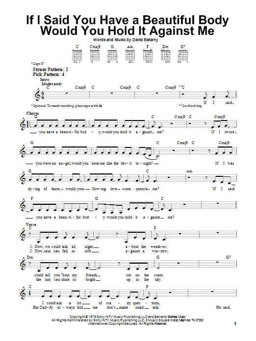 If I Said You Have A Beautiful Body Would You Hold It Against Me sheet music