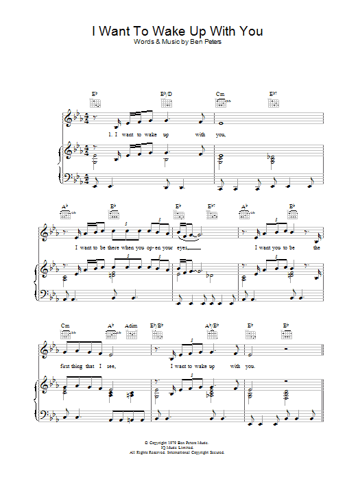 I Want To Wake Up With You sheet music