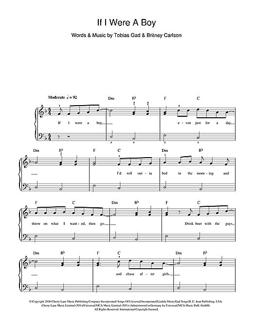 If I Were A Boy sheet music