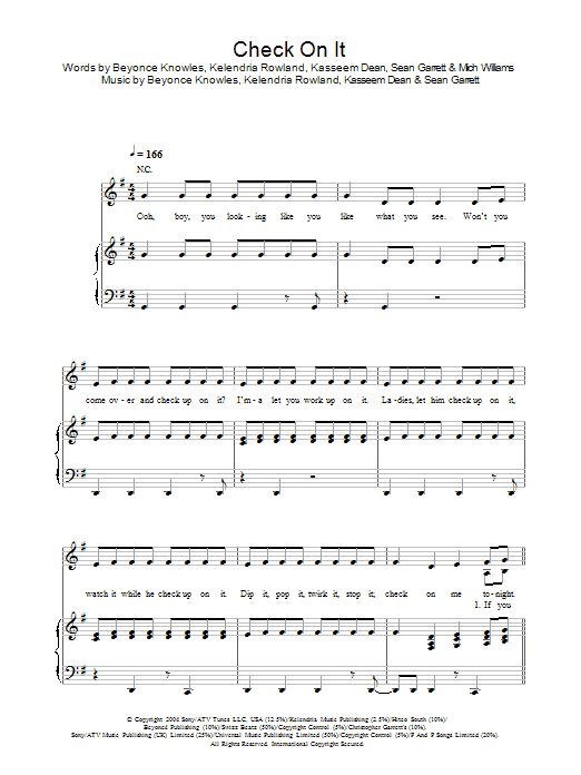 Check On It sheet music