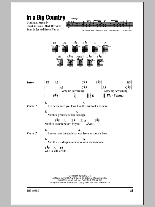 In A Big Country sheet music