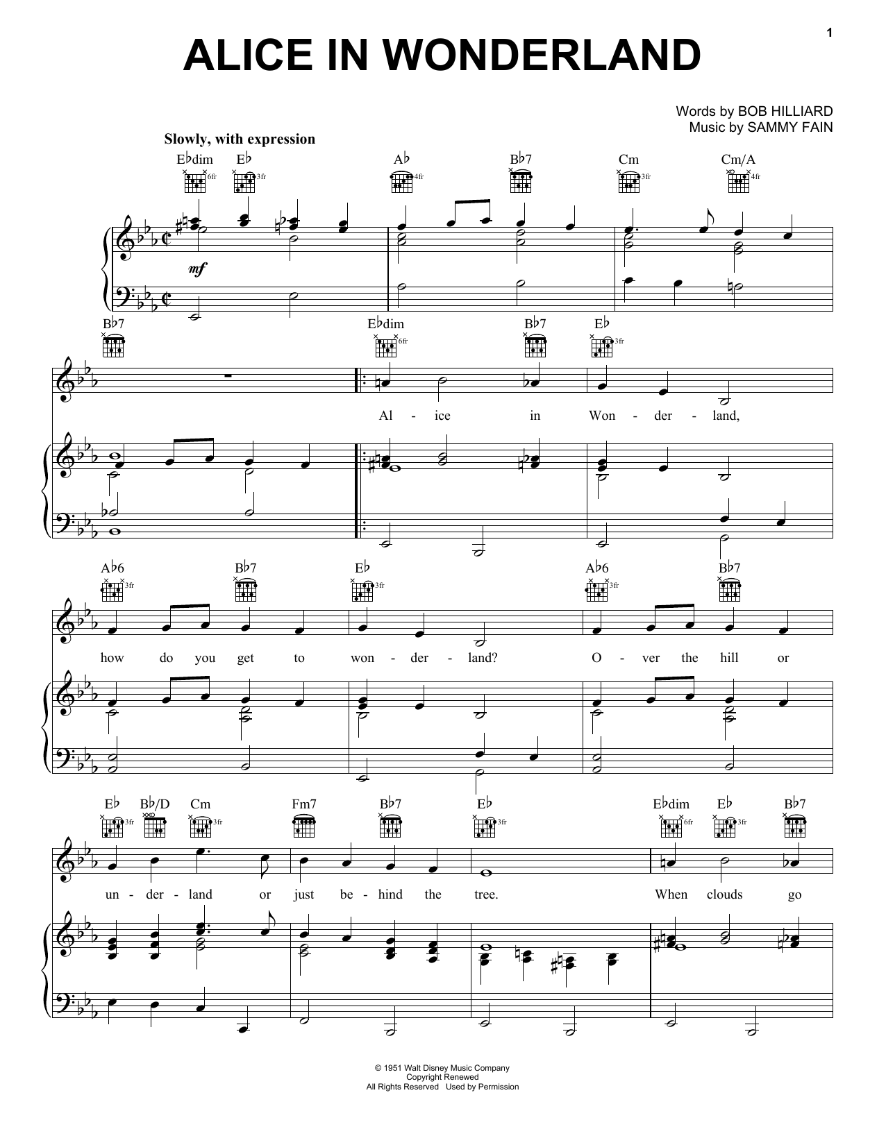 Alice In Wonderland sheet music