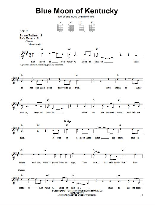Blue Moon Of Kentucky sheet music