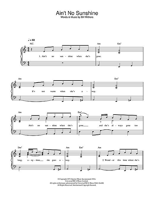 Bill Withers Ain T No Sunshine Sheet Music Download Pdf Score 121517 Scopri i nostri corsi di chitarra per tutti i livelli. musicnotesroom com
