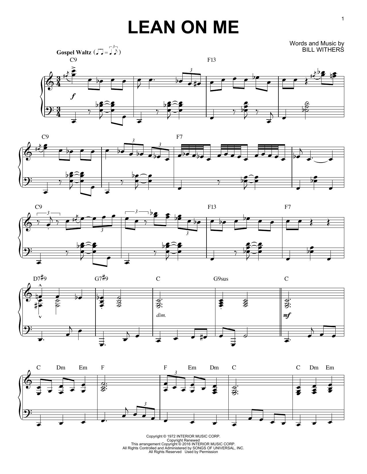 Lean On Me [Jazz version] (arr. Brent Edstrom) sheet music