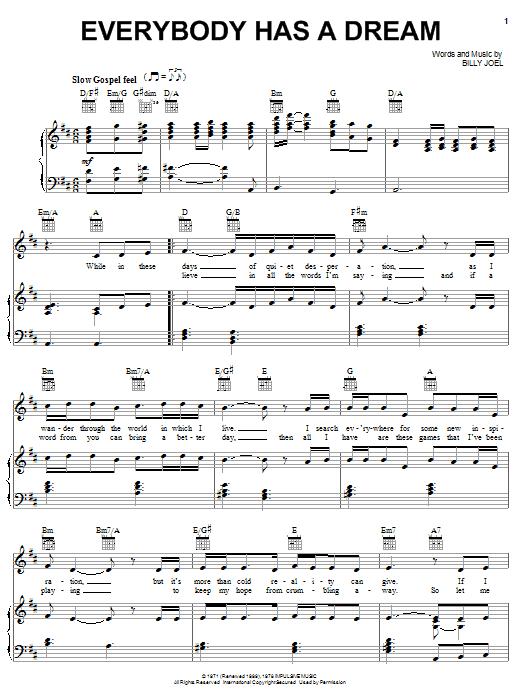 Everybody Has A Dream sheet music