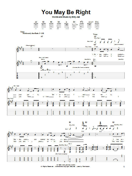 You May Be Right sheet music