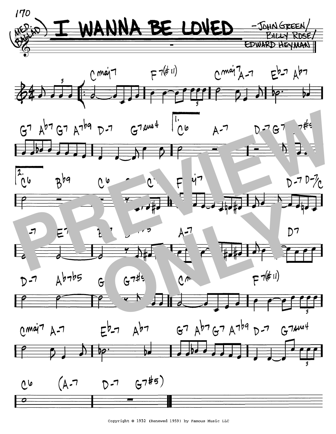 I Wanna Be Loved sheet music